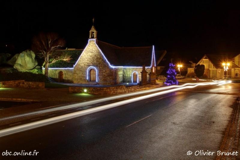 Illuminations de Noël, la Chapelle Sainte-Anne, Trégastel, HDR (6370)